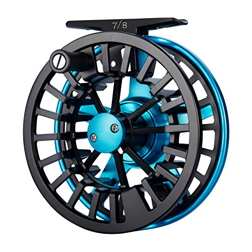 Large Arbor Disc Drag - Piscifun Aoka Fly Fishing Reels with Cork/Teflon Disc Drag System 5 6 wt Blue