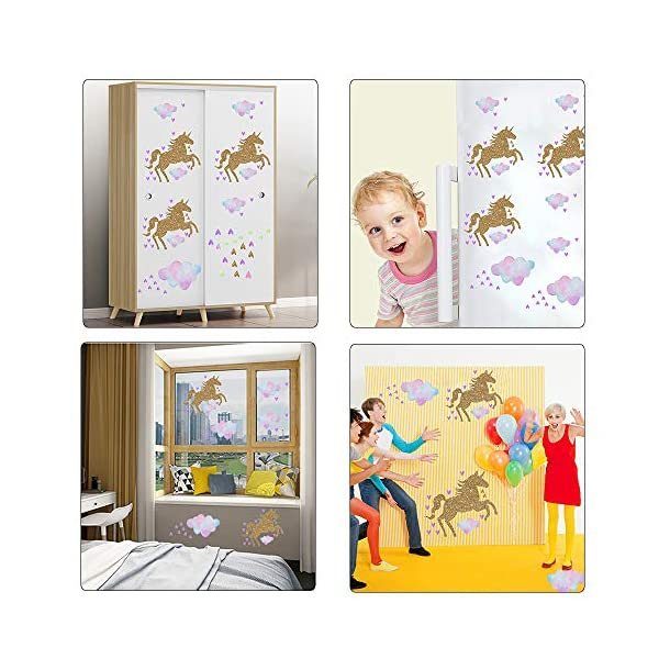 Unicorn Wall Decal, 2 Sheets Unicorn Wall Decor Stickers Removable Vinyl Decals Gifts for Girls Bedroom Kids Rooms Baby Nursery Home 7