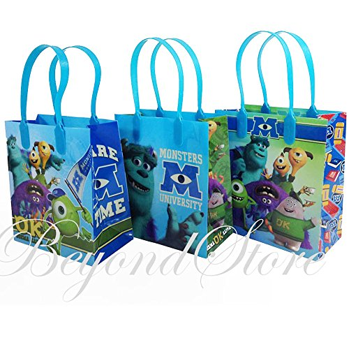 Monsters University Small Party Favor Goody Bags 36x, pack of 12 - Monsters Inc Party Supplies