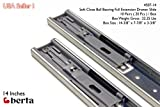 10 Pack Berta Full Extension Soft / Self Close Ball Bearing Side Mount Drawer Slides 14-Inch 100Lb Load Rating (10 Pairs)