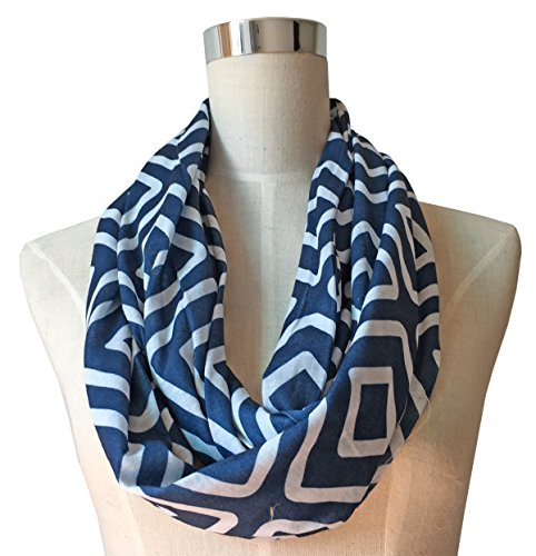 Womens Navy Blue Infinity Scarf, Geometric Pattern Scarf, Zipper Scarf, Fashion Scarf, Infinity ()