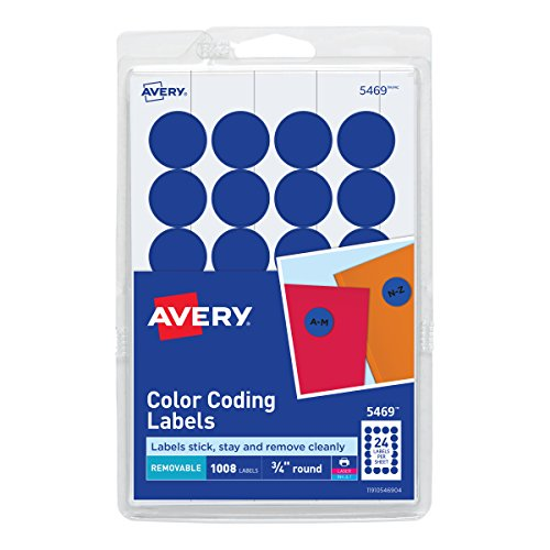 Avery Print/Write Self-Adhesive Removable Labels, 0.75 Inch Diameter, Dark Blue, 1,008 per Pack ()