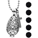 AromaRain Teardrop Diffuser Necklace With Cross Charm and Black Poms
