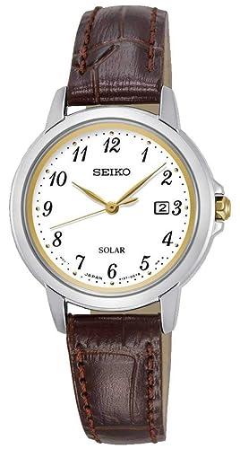 Seiko Reloj Analógico para Mujer de Cuarzo con Correa en Cuero SUT375P9: Amazon.es: Relojes