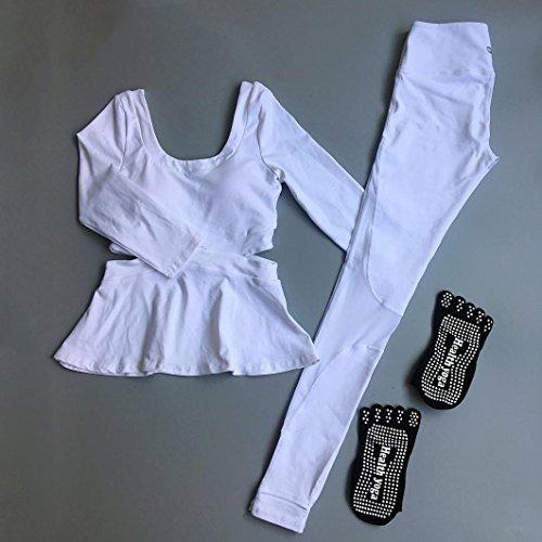HJMTRY Printemps et Automne Lady Professionnel Yoga Vêtements Tops et Yoga Pantalon 2 pc Suit pour Loisirs Yoga Pilates Danse Sportswear , XL