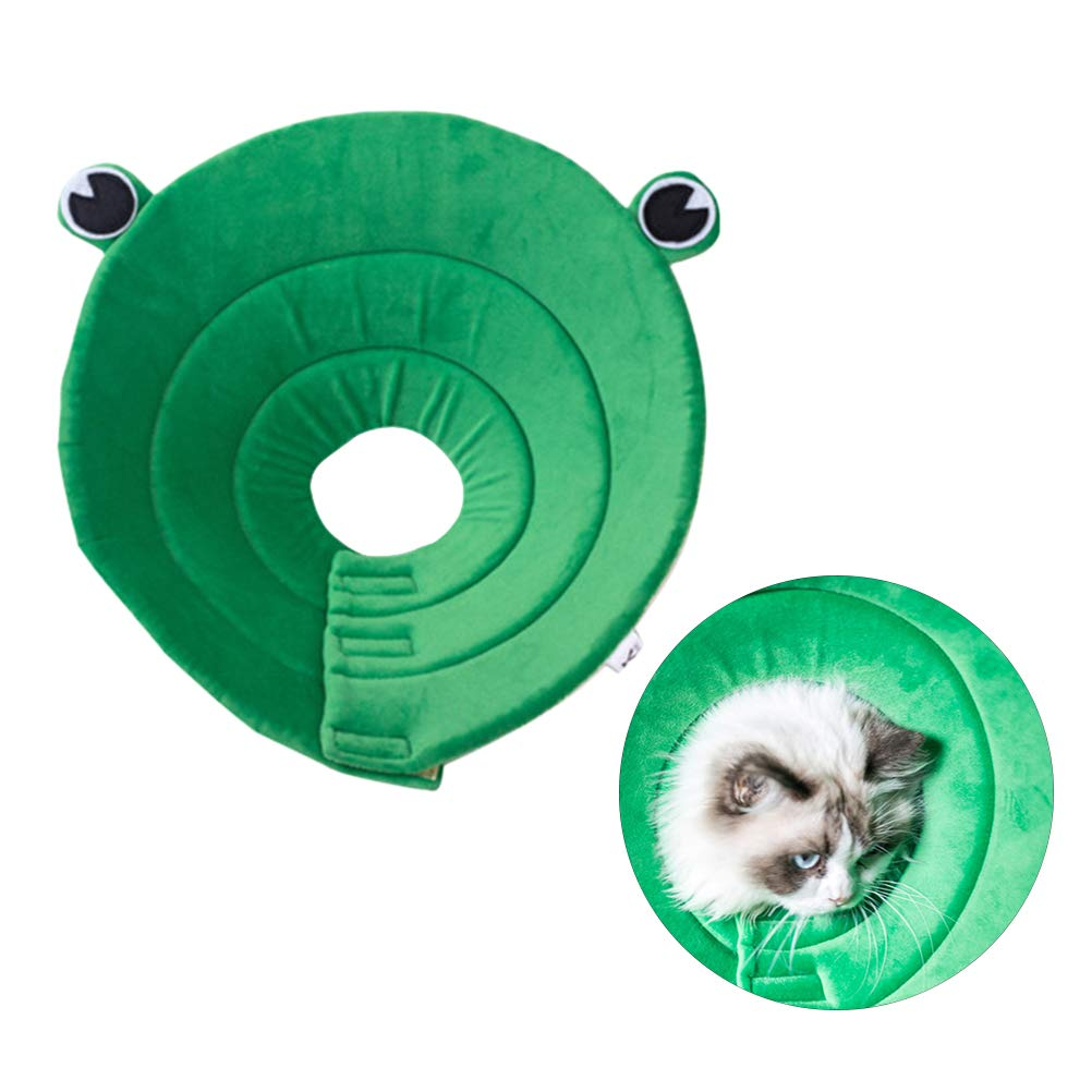 POPETPOP Pet Recovery Collar-Frog Shaped Dogs Cats Cone After Surgery Adjustable Puppy Recovery Protective Collar for Small Medium Large Dogs-Size XL by POPETPOP