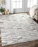 Cheap Nuloom 8′ x 10′ Handmade Cowhide Mitch Rug in Silver