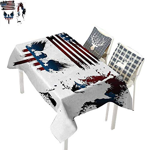 American Flag Decor Checkered Tablecloth Set with Bald Eagle Symbol and Stripes Stars Statue of Liberty GrungeNavy Maroon Rectangular Tablecloth W52 xL70 inch