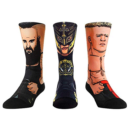 WWE Superstar Sock Packs by Rock 'Em (L/XL, WWE Raw Superstars - 3 Pack - Rey Mysterio - Braun Strowman - Brock Lesnar) (John Cena And Undertaker Vs Kane And Nexus)