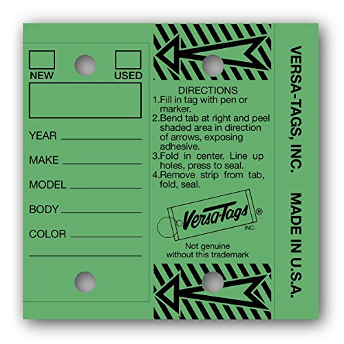 GREEN - Genuine Versa-Tags Key Tags, Self-Protecting (250 tags per box with metal rings)