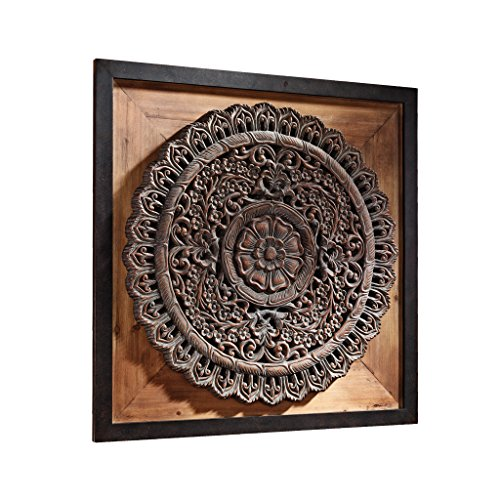 Design Toscano Bali Lotus Sculptural Wall Frieze, Walnut