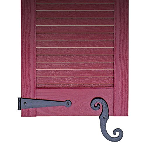 Review Decorative Vinyl Shutter Hinges and S Holdback Hooks for Exterior Decorative Shutters, Black (Set)