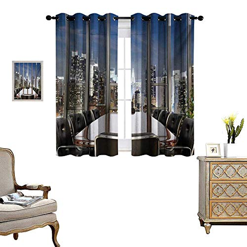 Modern Window Curtain Drape Business Office Conference Room Table Chairs City View at Dusk Realistic Photo Decorative Curtains for Living Room W63 x L63 Grey Black Blue