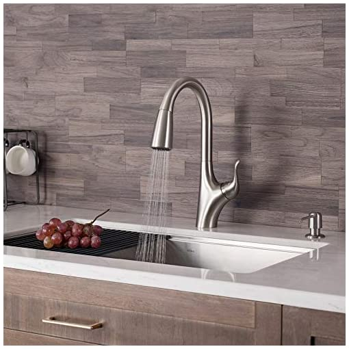 Kitchen KRAUS KPF-1674SFS Merlin Dual Function Pull, Faucets for Kitchen Sinks, Single-Handle, 15 5/8 Inch, Spot Free Stainless… modern sink faucets