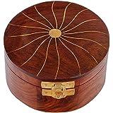 Craft Art India Decorative Handmade Small Round Shape Wooden Jewellery/Jewelery/Storage Box with Embossed Brass Design {CAI-HD-0330/Size(Inch):2x4x4}