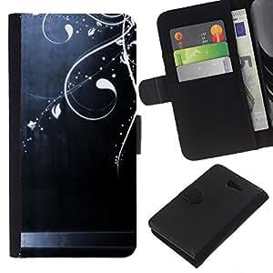 For Sony Xperia M2 Case , Steel Brushed Shiny Floral Art - la tarjeta de Crédito Slots PU Funda de cuero Monedero caso cubierta de piel