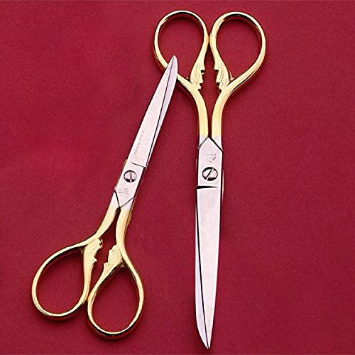 Pair of Sewing Scissors with gilded finger holes and art deco pattern, made in Italy, 5 and 6 inches long overall by Garrett Wade (Image #1)