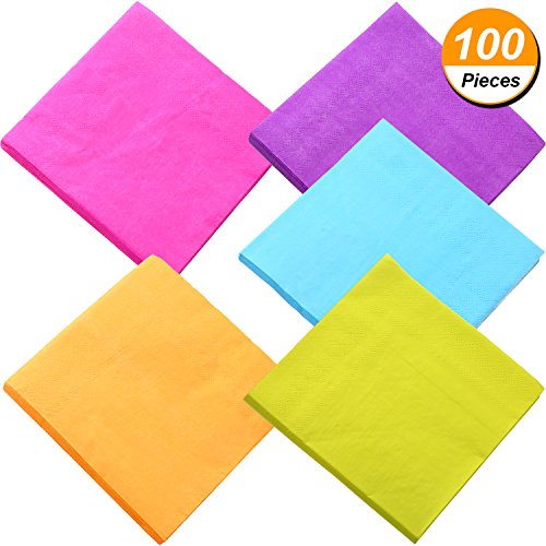 Colorful Cocktails (TecUnite 100 Pieces Beverage Paper Napkins Cocktail Napkin 2 Ply, Mixed Color)