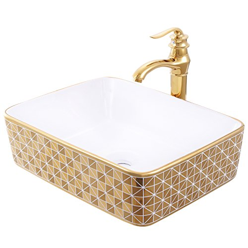 Sliverylake Europe Style Rectangular Bathroom Ceramic Vessel Sink Wash Basin Porcelain Counter Top Wash Basin with Copper Faucet & Drain