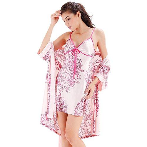 La Sra pieza de seda atractivo del camisón camisón equipado chándal primavera y el verano red flowers