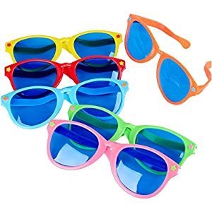 HS Novelty Colorful Jumbo Sunglasses for Costumes Cosplay Halloween Party Favor Fun Photo Booth Props, Party Pack of 6
