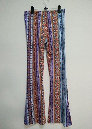 Largo Wenchuang Rosa Vintage Flare Piedino Alta Stampati Vita Pantaloni Eleganti Donna A Pants Di Rossa Lungo xXqCwXA6