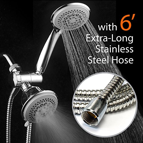 DreamSpa¨ 36-Setting Luxury 3 Way Shower Head / Handheld Shower Combo with Extra Long 6 foot Stainless Steel Hose