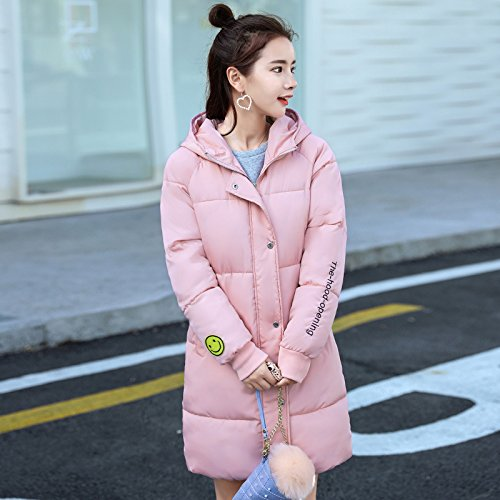 Jacket Thickened Coat DYF Loose Pink Solid Sleeve Pocket Long FYM XXL COAT Color Down Zipper Zqawyt7