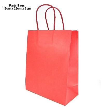 Bolsas de papel de 120 g/m², color rojo, con asas de colores ...