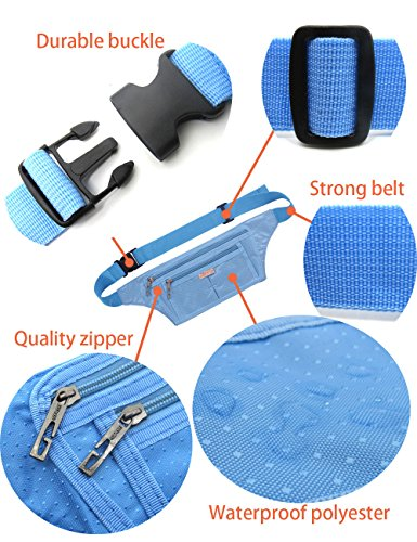 Naoki Outdoor Sports Running Jogging Cycling Hiking Camping Climbing Travel Ultra-thin Waterproof Polyester Waist Pack / Bag Runner Belt(Sky Blue) by NAOKI LOVE (Image #4)
