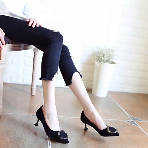Xue Qiqi Pumps Sandalen Schuhe Frauen Schuhe High-Heeled Fein mit Stilvollen Bow Tie Punkt Leichtmetall- Einzelne Schuhe Frauen Schuhe