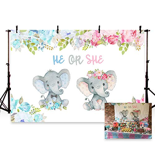 MEHOFOTO Lovely Elephant Theme Gender Reveal Party Decoration Baby Shower He or She Backdrop Blue Pink Flowers Photography Background Photo Banner -