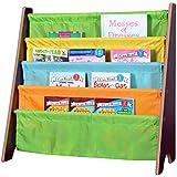 Naomi Home Kids Toy Sling Book Rack, Pastel Colors/Espresso