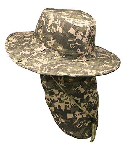 RufnTop Bora Booney Sun Hat for Outdoor Hiking, Safari, Camping, Hunting, Garden Wide Brim Cap with UPF 50+ Protection(Digital Camo L)