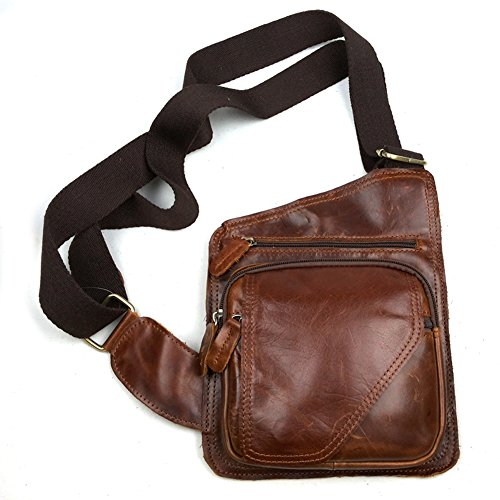Dopobo - Bolso al hombro para hombre Marrón Oil Wax Paper Leather - Brown (Length*Left Height*Right Height): 20*20*26cm Oil Wax Paper Leather - Brown
