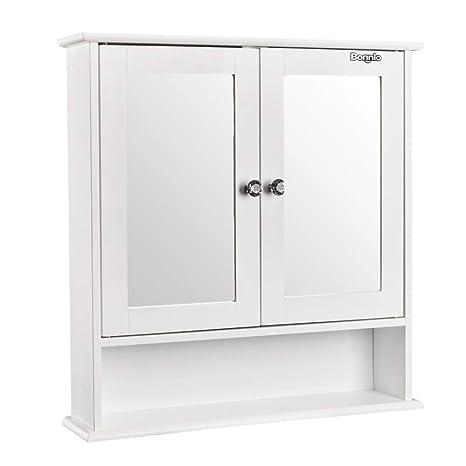 Amazon Bonnlo Bathroom Wall Cabinet Modern Double Mirror Door