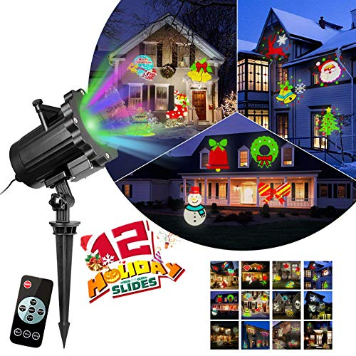 Adarl Brightness Upgrade Outdoor LED Christmas&Halloween Landscape Spotlight Projector Lamp with Wireless Remote for Home Garden Holiday Party Wedding and Other -