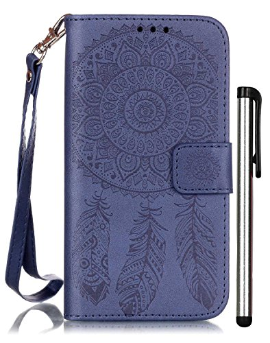 Galaxy S5 Leather Case Blue Wallet Full Body Magnet Front Book Cover Cell Phone Accessories with Stand 3 Credit Card Holders Cash Slot Wrist Strap Handmade Embossed Fashion Wind Chimes I9600 SV G900