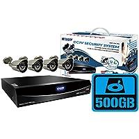 KGUARD Security EL822-CKT005-500G Easy Link Pro Series 8 Channel QR Cloud 960H DVR with Cameras (Grey)