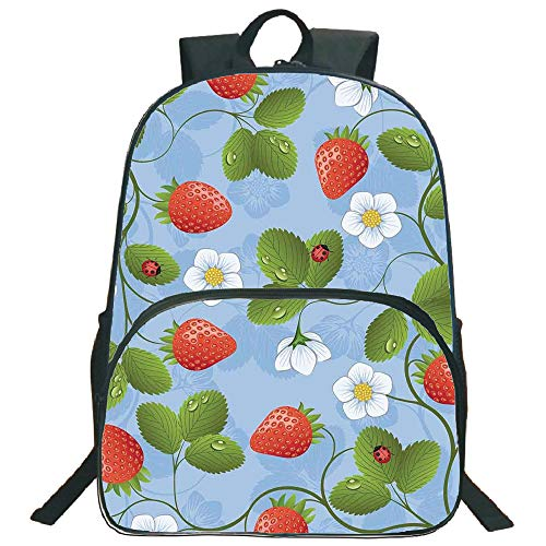 "Ladybugs 3D Print 16"" Backpacks,Strawberries Daisies and Ladybugs Looks Like Ivy Plant Spotted Insects Image,3th 4th 5th Grade School Bookbags Travel Laptop Daypack Bag Purse,for Kids Teens,Blue Green"