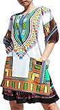 Raan Pah Muang RaanPahMuang Branded Dashiki Mini Dress Summer Long Cut Shirt Africa White Plus Sizes, XXX-Large, New White Blue