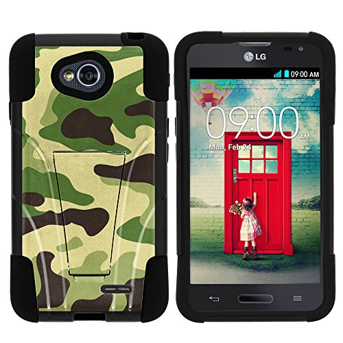 LG Ultimate 2 Phone Case, Durable Hybrid STRIKE Impact Kickstand Case with Art Pattern Designs for LG Optimus L70 MS323, LG Optimus Exceed 2 VS450PP, LG Realm LS620, LG Ultimate 2 L41C (Metro PCS, Verizon, Boost Mobile) from MINITURTLE | Includes Clear Screen Protector and Stylus Pen - Green Camouflage