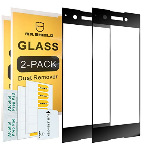 [2-PACK]-Mr Shield For Sony Xperia XA1 [Tempered Glass] [Full Cover] [Black] Screen Protector with Lifetime Replacement Warranty