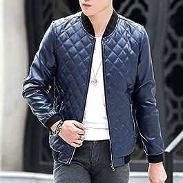 Men's Classic Pu Leather Slim Fit Motorcycle Jacket Biker Jacket Zipper Coat