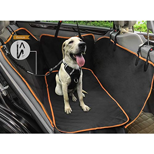 WINSEE Dog Car Seat Covers Pet Backseat Cover, Durable Dog Car Hammock Car Seat Protector with Side Flaps &Soft Mat, Bonus Seatbelt Leash, 100% Waterproof Anti-Scratch Nonslip Backing Machine Washable
