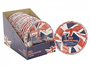 "TRIXES Union Jack 2pc Paper Party Plates 7"" Party BBQ National British Celebrations Royal Wedding"