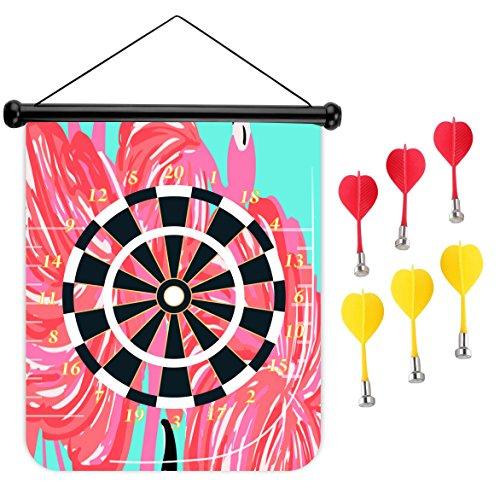 15インチMagnetic Dart Board Double Sided Hanging Dart Board Set and Bullseyeゲーム。フラミンゴ2