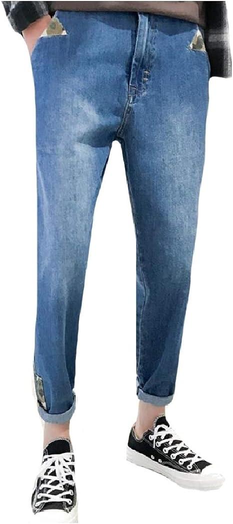 YAXINHE Men's Trousers Loose-Fit Wash Denim Pants Summer Multicam Jeans