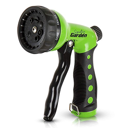 - Signature Garden Heavy-Duty Nozzle, Comfort-Grip 8 Different Spray Patterns for Watering Lawns, Washing Cars & Pets