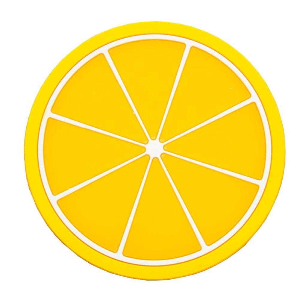 Tableware Placemat,Lovewe Fruit Coaster Colorful Silicone Cup Drinks Holder Mat Tableware Placemat(Lemon)
